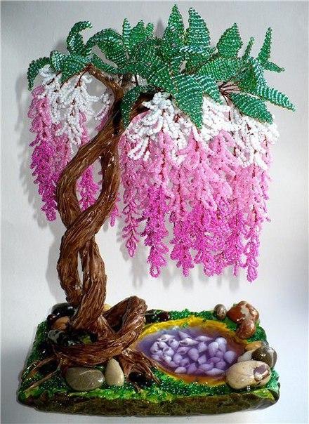 Как сделать глицинию из бисера дерево