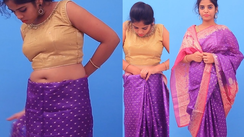How To Wear Saree Easily Sari Perfectly To Look Slim Indian Saree Simple Draping tutorial