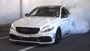 TUNED Mercedes C63 AMG in Monaco - Burnouts LOUD Exhaust Sounds!