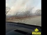 Партизанскийрайон #пожар в районе Золотой Долины горят поля вдоль дороги.