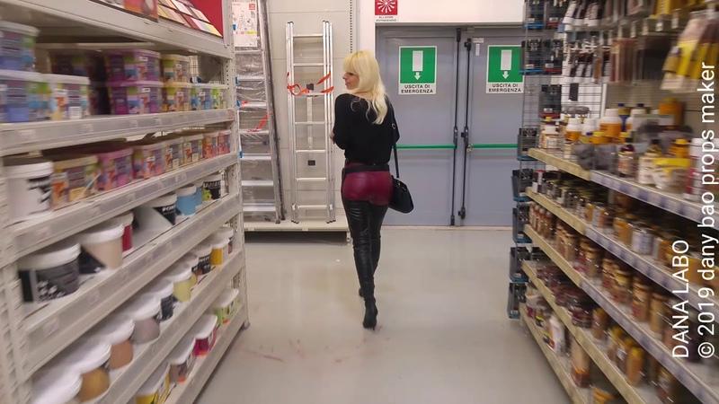DANA LABO work walk in leather boots and vinyl leggings