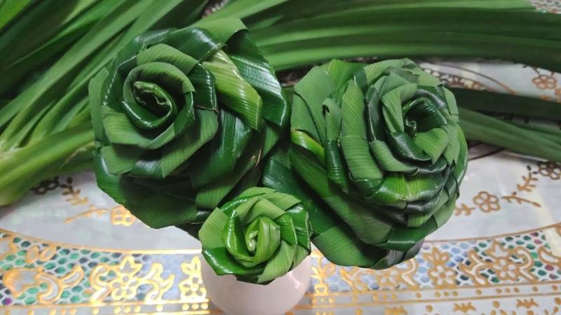 วิธีพับใบเตย เป็นดอกกุหลาบ ที่มีขนาดด