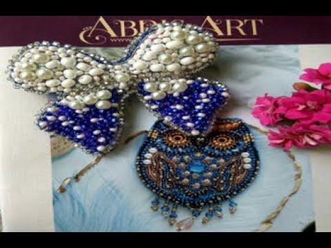 Объемные украшения от Abris Art Филин и Бантик вышивка бисером
