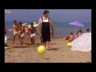 Crazy man kicks a head instead of a Ball