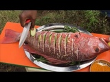 Steaming a 12 Pound Red Snapper - Steaming a Big Fish - Steaming a Fish in Our Village