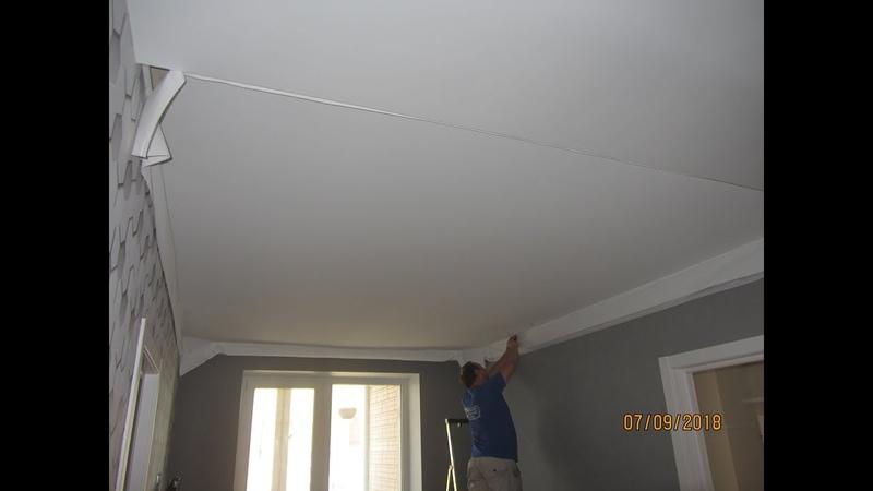 Тканевый потолок Clipso! Монтаж люстры! Конец отделки в гостиной и спальной комнате