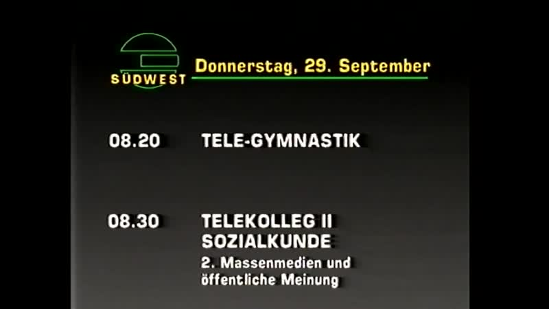 Диктор, программа передач и конец эфира (Südwest 3 [г. Штутгарт, Германия], 28.09.1988)
