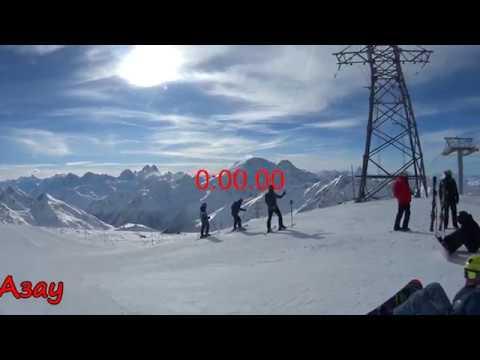 Спуск на сноуборде с Гара Баши до Азау на Эльбрусе