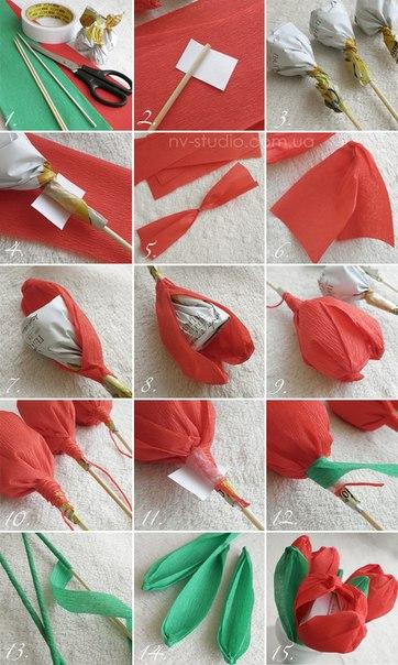 Цветочные конфеты своими руками