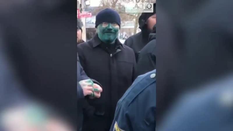 Кремлевская куртизанка Вилкул приехал на гастроли в Бердянск и зачем-то обмазался зеленкой