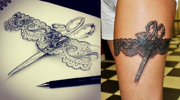 Эскиз татуировки подвязка