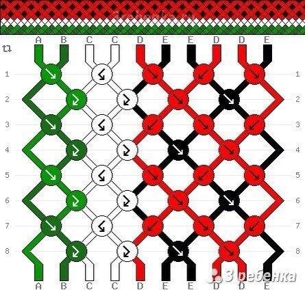 Схема плетения фенечки арбуз