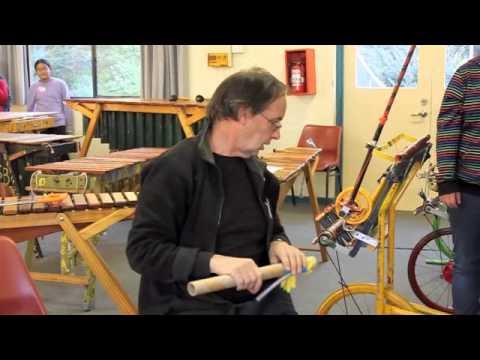 Jon Madin makes a rubber glove bassoon