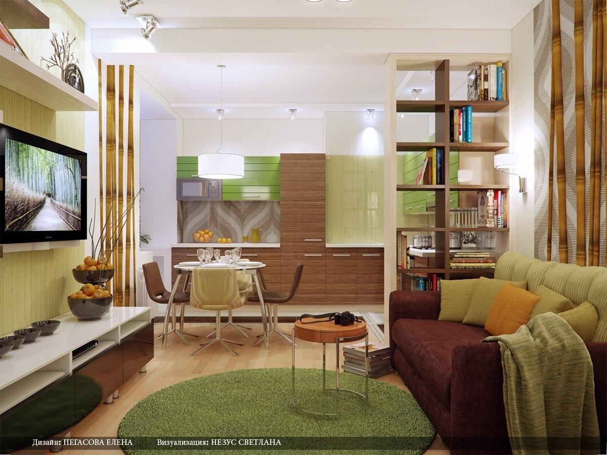 Дизайн гостиная и кухня в одной комнате 18 кв м