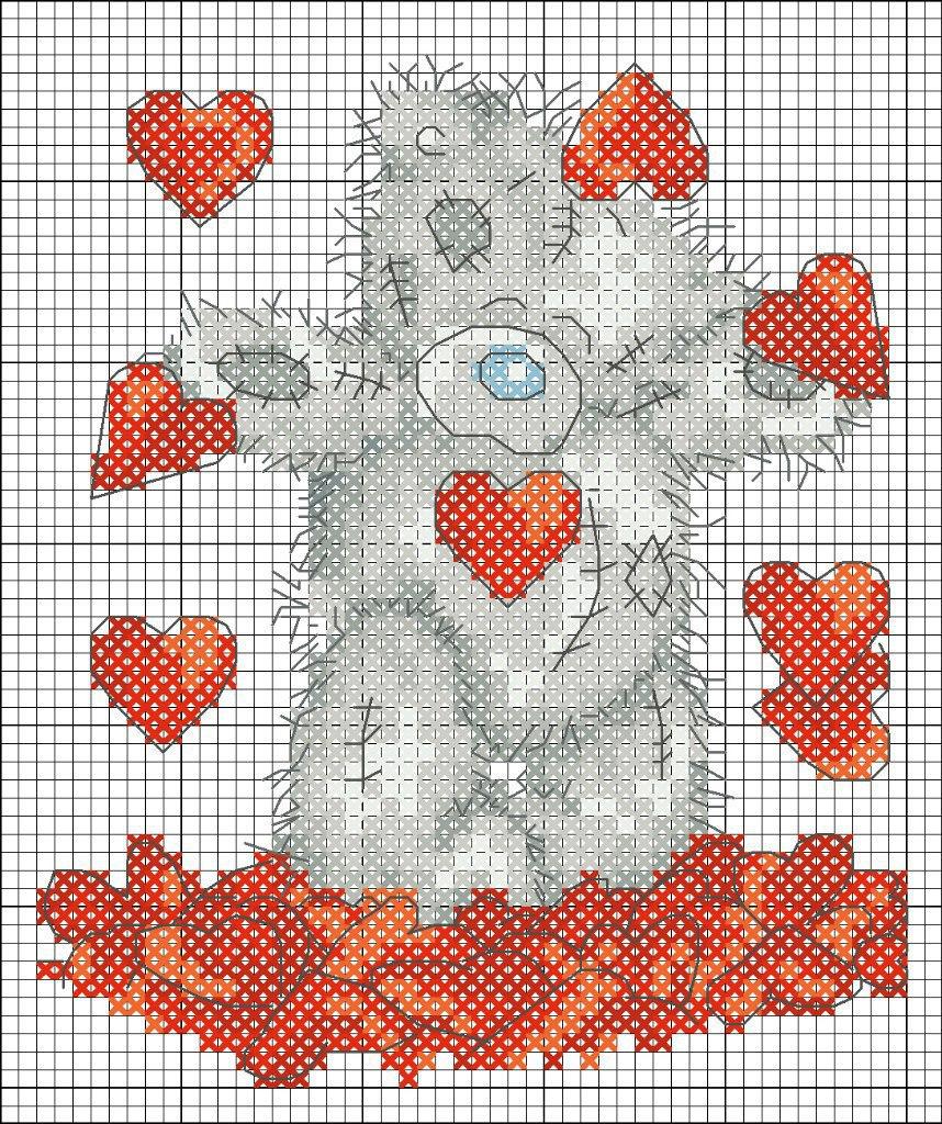 сердце с крыльями вышивка крестиком схема