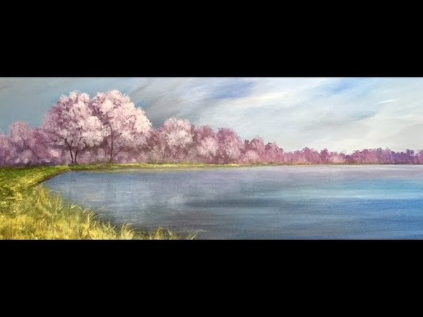 Рисуем небо, деревья в цвету, траву Акрилом. Acrylic. Trees in blossom, drama sky, grass