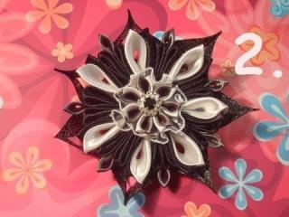 Женская заколка Канзаши Симпатичный цветок 2 Women's Cute flower barrette Kanzashi