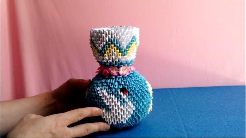 Origami 3d vase tutorial - How to make vase origami 3d - làm lọ hoa giấy