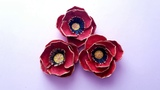 Flori de maci din cartoane de oua--Poppies flower of egg cartoons