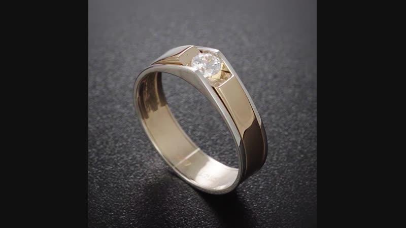 Кольцо из красного и белого золота с Swarovski Gems