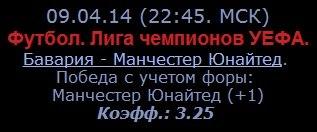 Бесплатный прогноз от каппера 'Vasilisa'.09.04.14 (22:45. МСК)Футбол
