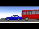 Моделирование дорожной ситуации. Столкновение легкового автомобиля и муниципального автобуса
