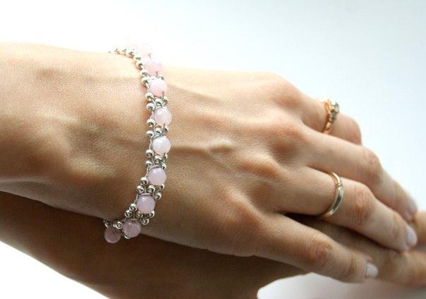 Браслеты из розового кварца своими руками