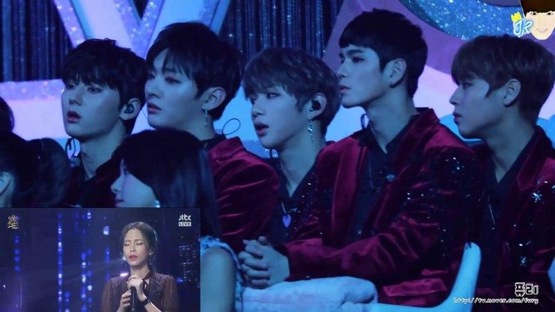 180110 Minhyun Wanna One реакция на выступление Heize