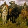 """Марка нитей. мужчина. три богатыря.  Наденька.  Теги. сказка. конь.  Портал  """"Вышивка крестом """".  4. 300x195 крестов."""