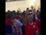Сербские болельщики идут на матч с Бразилией