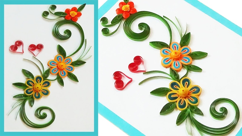 Quill Paper   how to make Beautiful Quilling greeting cards for beginners ✴