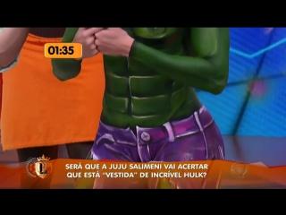 Juju Salimeni Personagem Hulk Na Pintura Corporal Legendários