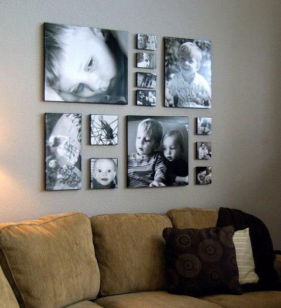 Как разместить фотографии на стене.