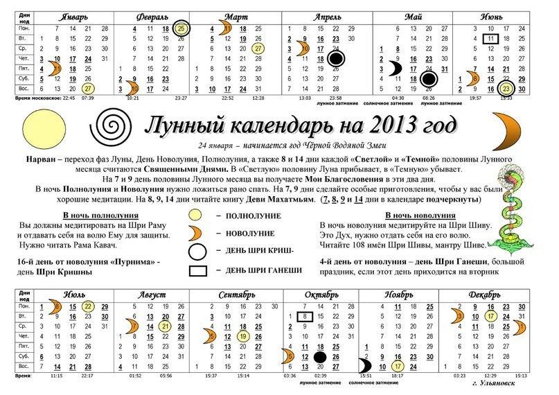 Лунный календарь на 2013 год