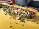YUMMY FOOT LONG SANDWICH - GRILLED STEAK - ROSEMARY CHIPS - GORGONZOLA SAUCE - LONDON STREET FOOD