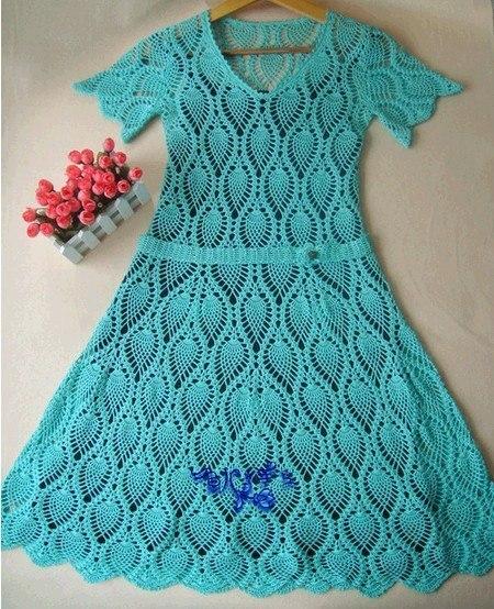 Платье крючком. Ананасы (8 фото) - картинка
