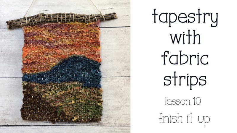 Weave with Fabric Strips - How to Hang the Weaving on a Stick