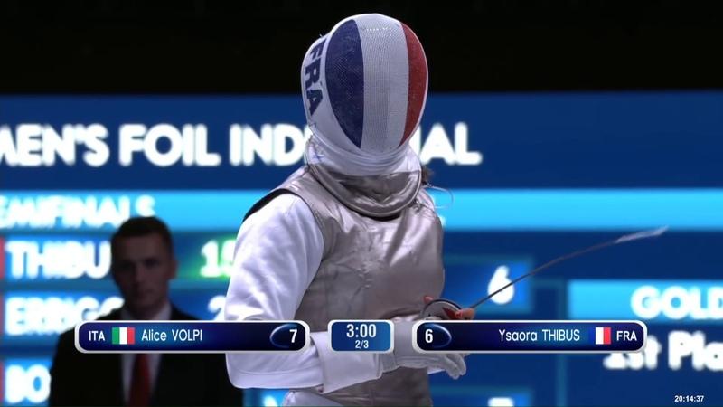 2018 Wuxi World Championships - WF Ind FINAL VOLPI (ITA) v THIBUS (FRA)