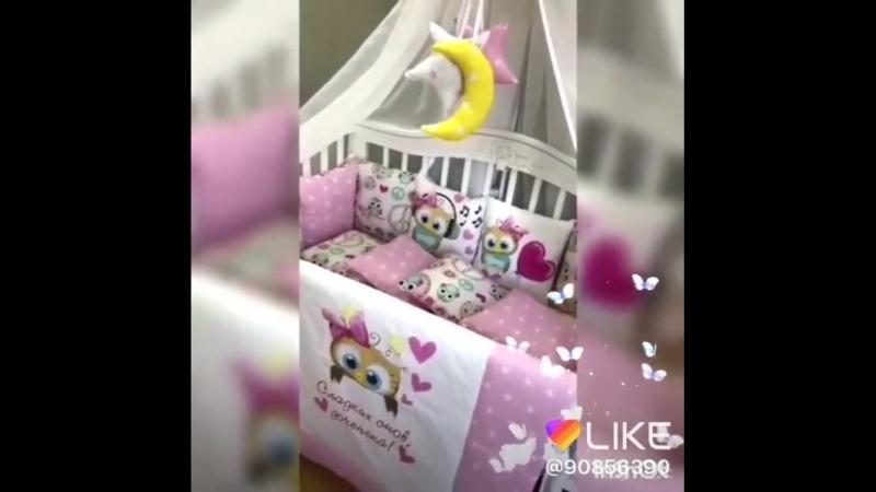 Комплект в кроватку Совята (в круглую кроватку 7 в 1)