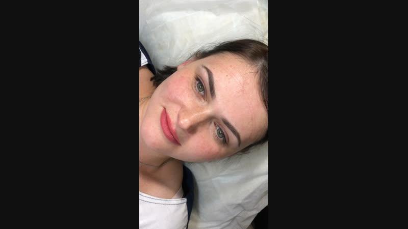 Перманентный макияж трёх зон, губки👄 и веки👀 сразу после процедуры, бровки🤨 зажившие