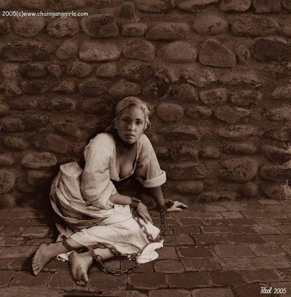 рабыня в колодках