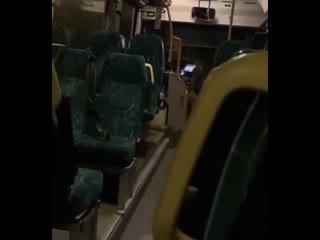 Bus driver thinks he's alone in the bus (sound on)