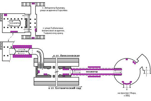 Ниже представлена схема размещения рекламы на станции метро ВДНХ.  На схеме номерами указаны места под рекламу.