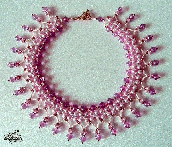 Ожерелья из бисера и бусин. Схемы плетения… (10 фото) - картинка