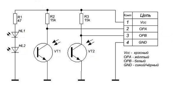 Схема оптических датчиков угла