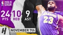 HEADBAND LeBron James Highlights vs Timberwolves 2018.11.07 - 24 Pts, 10 Reb, 9 Ast