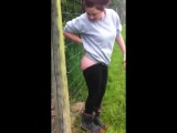 The bare bum electric fence challenge, gone wrong