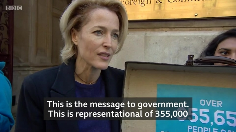 Gillian Anderson delivers Antarctic petition - BBC News