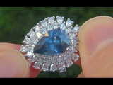 GIA Certified UNHEATED Natural VS2 Blue Sapphire Diamond 18k White Gold Engagement Ring - A141636