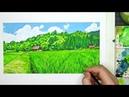 Watercolor and Gouache Painting - Japanese Village Shirakawa-go - Anime Background